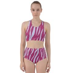 Skin3 White Marble & Pink Denim Racer Back Bikini Set