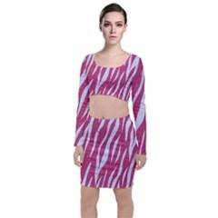 SKIN3 WHITE MARBLE & PINK DENIM Long Sleeve Crop Top & Bodycon Skirt Set