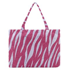 Skin3 White Marble & Pink Denim Zipper Medium Tote Bag by trendistuff