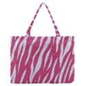 SKIN3 WHITE MARBLE & PINK DENIM Zipper Medium Tote Bag View1