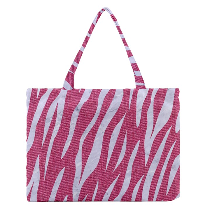 SKIN3 WHITE MARBLE & PINK DENIM Zipper Medium Tote Bag