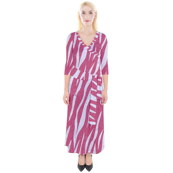 SKIN3 WHITE MARBLE & PINK DENIM Quarter Sleeve Wrap Maxi Dress