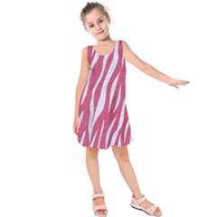 SKIN3 WHITE MARBLE & PINK DENIM Kids  Sleeveless Dress