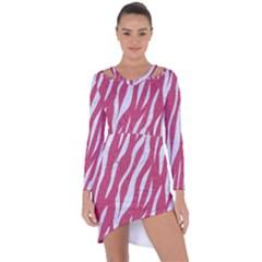 SKIN3 WHITE MARBLE & PINK DENIM Asymmetric Cut-Out Shift Dress