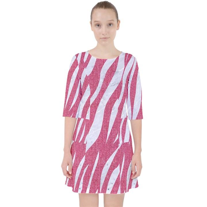 SKIN3 WHITE MARBLE & PINK DENIM Pocket Dress
