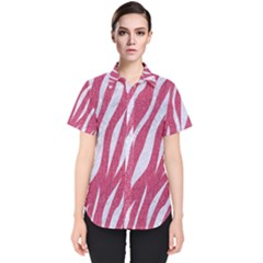 Skin3 White Marble & Pink Denim Women s Short Sleeve Shirt