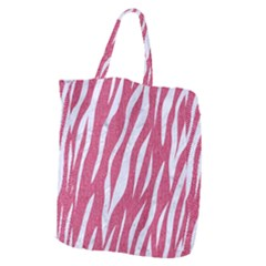 Skin3 White Marble & Pink Denim Giant Grocery Zipper Tote by trendistuff
