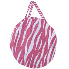 Skin3 White Marble & Pink Denim Giant Round Zipper Tote by trendistuff