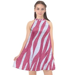 Skin3 White Marble & Pink Denim Halter Neckline Chiffon Dress