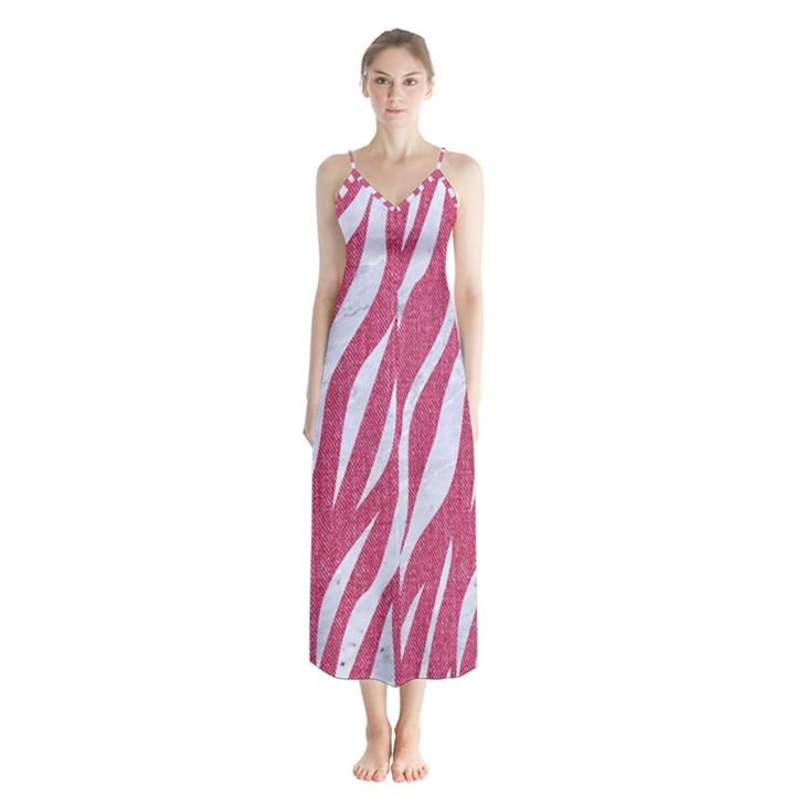 SKIN3 WHITE MARBLE & PINK DENIM Button Up Chiffon Maxi Dress