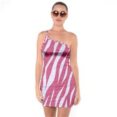 SKIN3 WHITE MARBLE & PINK DENIM One Soulder Bodycon Dress