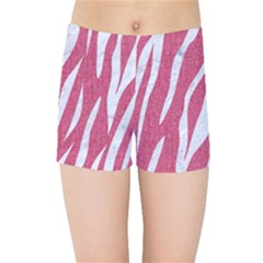 Skin3 White Marble & Pink Denim Kids Sports Shorts