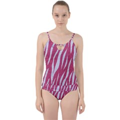Skin3 White Marble & Pink Denim Cut Out Top Tankini Set