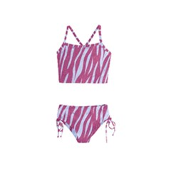 Skin3 White Marble & Pink Denim Girls  Tankini Swimsuit
