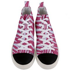 Skin3 White Marble & Pink Denim Men s Mid Top Canvas Sneakers