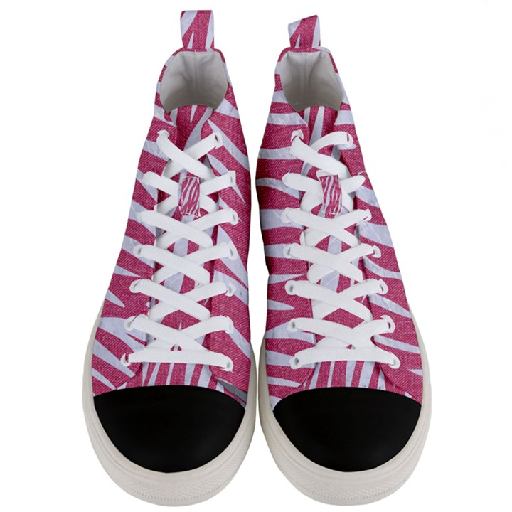 SKIN3 WHITE MARBLE & PINK DENIM Men s Mid-Top Canvas Sneakers