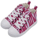 SKIN3 WHITE MARBLE & PINK DENIM Kid s Mid-Top Canvas Sneakers View2
