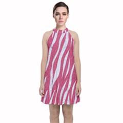 Skin3 White Marble & Pink Denim Velvet Halter Neckline Dress