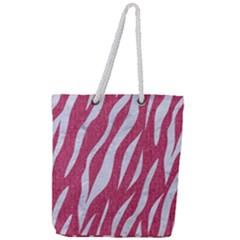 Skin3 White Marble & Pink Denim Full Print Rope Handle Tote (large) by trendistuff