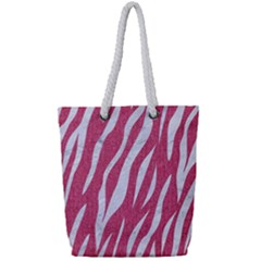 Skin3 White Marble & Pink Denim Full Print Rope Handle Tote (small) by trendistuff