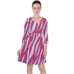 SKIN3 WHITE MARBLE & PINK DENIM Ruffle Dress
