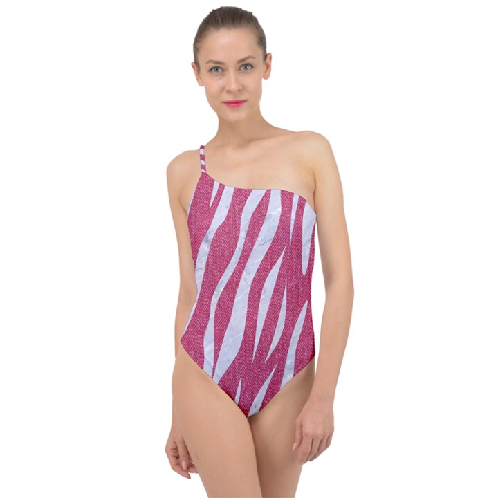 SKIN3 WHITE MARBLE & PINK DENIM Classic One Shoulder Swimsuit