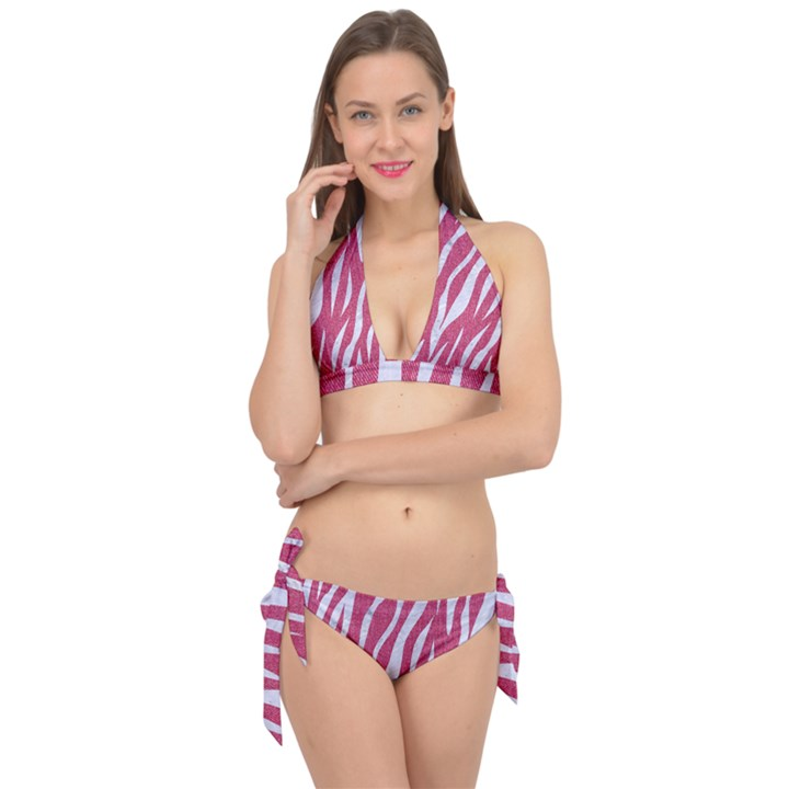 SKIN3 WHITE MARBLE & PINK DENIM Tie It Up Bikini Set