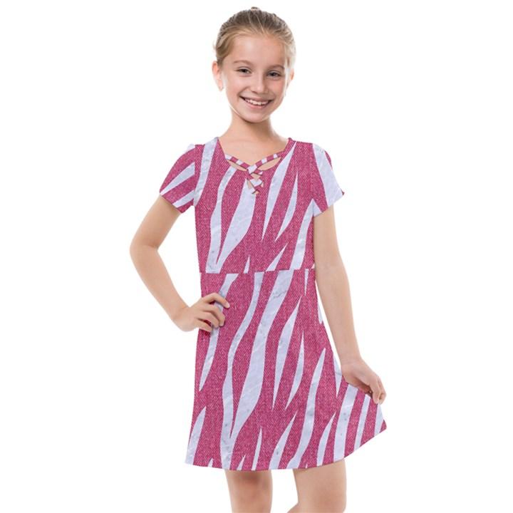 SKIN3 WHITE MARBLE & PINK DENIM Kids  Cross Web Dress