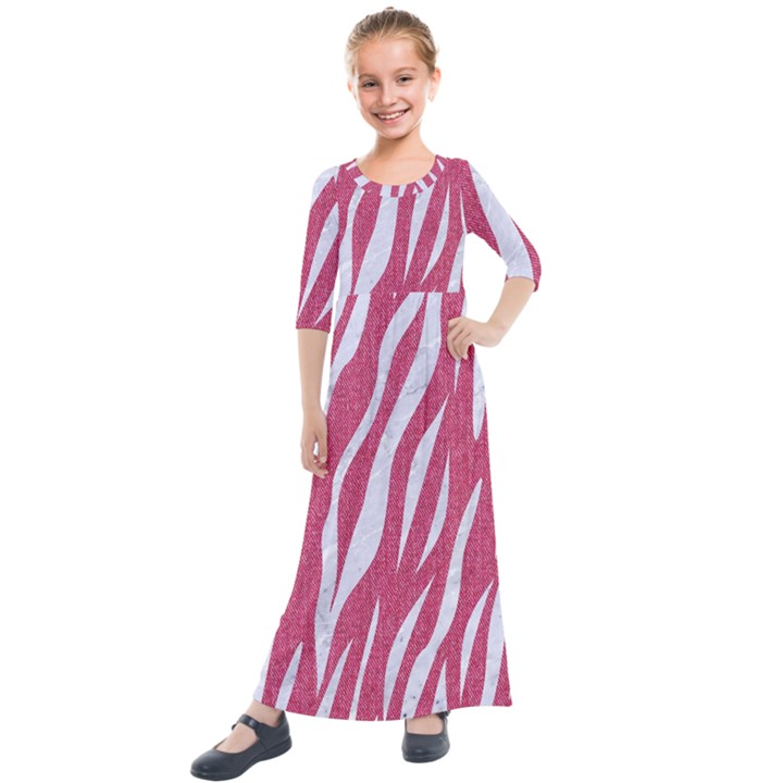 SKIN3 WHITE MARBLE & PINK DENIM Kids  Quarter Sleeve Maxi Dress