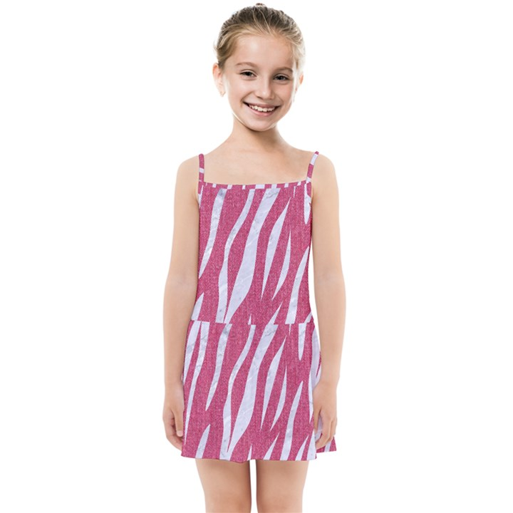 SKIN3 WHITE MARBLE & PINK DENIM Kids Summer Sun Dress