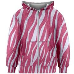 SKIN3 WHITE MARBLE & PINK DENIM Kids Zipper Hoodie Without Drawstring