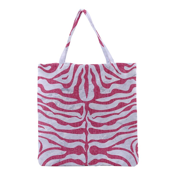 SKIN2 WHITE MARBLE & PINK DENIM (R) Grocery Tote Bag
