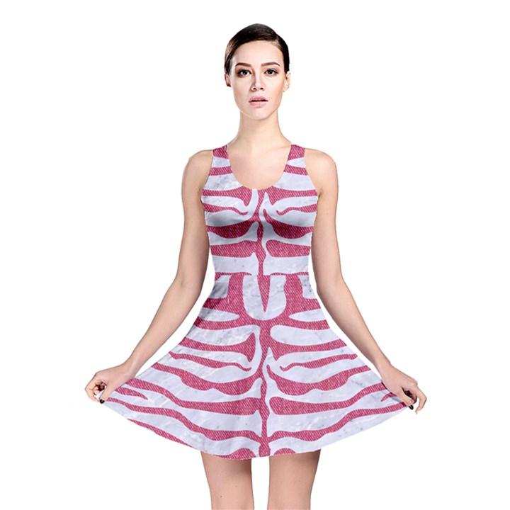SKIN2 WHITE MARBLE & PINK DENIM (R) Reversible Skater Dress