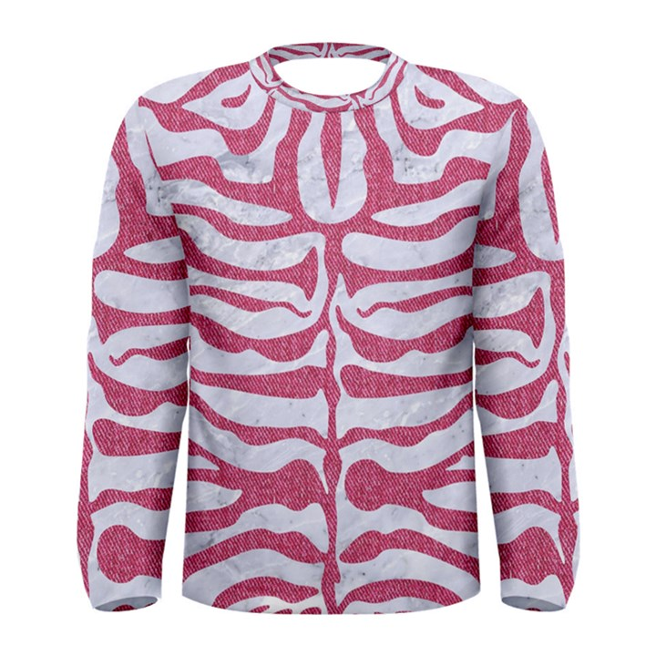 SKIN2 WHITE MARBLE & PINK DENIM (R) Men s Long Sleeve Tee