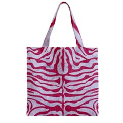 SKIN2 WHITE MARBLE & PINK DENIM (R) Zipper Grocery Tote Bag