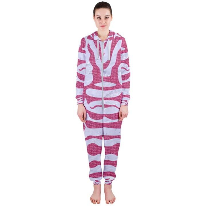 SKIN2 WHITE MARBLE & PINK DENIM (R) Hooded Jumpsuit (Ladies)