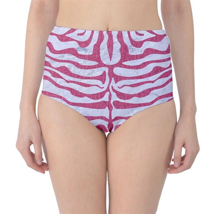 SKIN2 WHITE MARBLE & PINK DENIM (R) Classic High-Waist Bikini Bottoms
