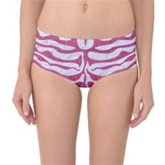 SKIN2 WHITE MARBLE & PINK DENIM (R) Mid-Waist Bikini Bottoms
