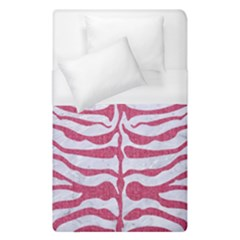 Skin2 White Marble & Pink Denim (r) Duvet Cover (single Size)