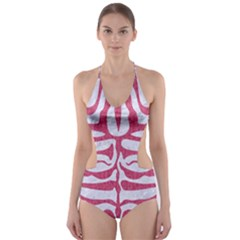 Skin2 White Marble & Pink Denim (r) Cut Out One Piece Swimsuit