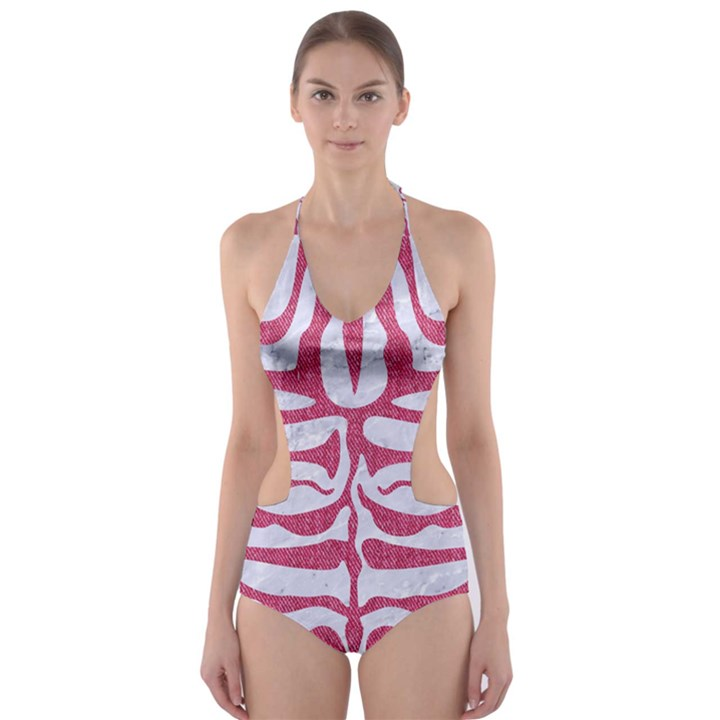 SKIN2 WHITE MARBLE & PINK DENIM (R) Cut-Out One Piece Swimsuit