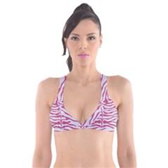 SKIN2 WHITE MARBLE & PINK DENIM (R) Plunge Bikini Top
