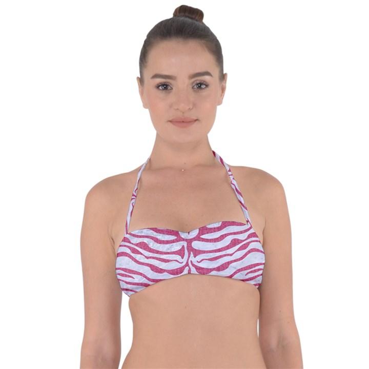 SKIN2 WHITE MARBLE & PINK DENIM (R) Halter Bandeau Bikini Top