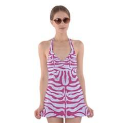 SKIN2 WHITE MARBLE & PINK DENIM (R) Halter Dress Swimsuit