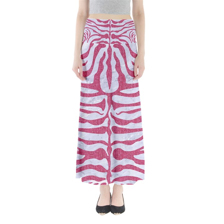SKIN2 WHITE MARBLE & PINK DENIM (R) Full Length Maxi Skirt