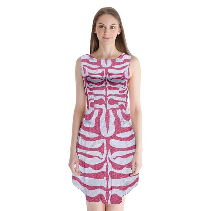 SKIN2 WHITE MARBLE & PINK DENIM (R) Sleeveless Chiffon Dress