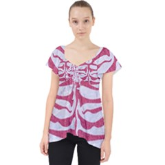 SKIN2 WHITE MARBLE & PINK DENIM (R) Lace Front Dolly Top