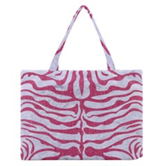Skin2 White Marble & Pink Denim (r) Zipper Medium Tote Bag