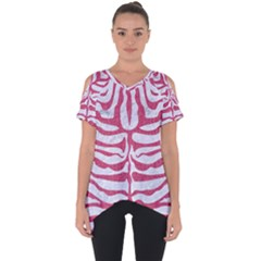 Skin2 White Marble & Pink Denim (r) Cut Out Side Drop Tee by trendistuff