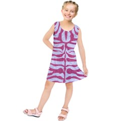 Skin2 White Marble & Pink Denim (r) Kids  Tunic Dress